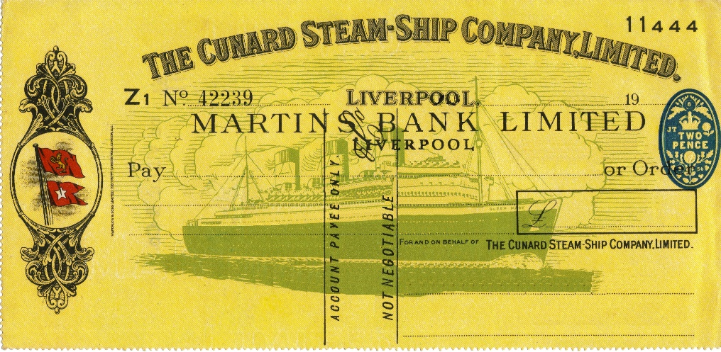 1956 Feb Cunard Cheque RT - MBA