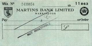 1960 s (early) blank cheque