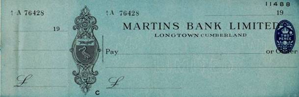 1939 Longtown Cumberland Cheque Don Swainston