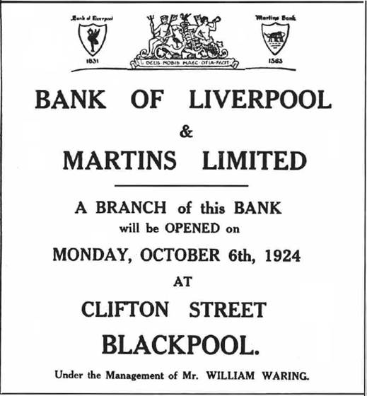 1924 OCT 04 Lancashire Evening Post Opening of Clifton St Blackpool BOLM BNA