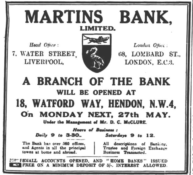 1929 MAY 24 Hendon and Fonchley Times New Branch at Hendon London BOLM BNA