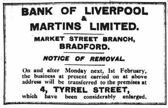 1926 JAN 29 Closure of Bradford Mkt Street removed to Tyrrel St BOLM BNA