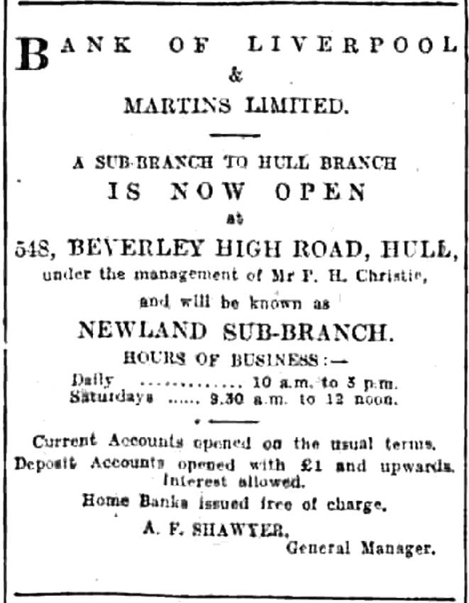 1927 JUL 15 Hull Daily Mail - new branch opened at Newland BNA