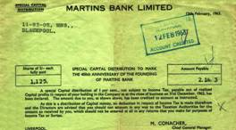 1963 Special Capital Distribution Voucher 400th Anniversary of Martins