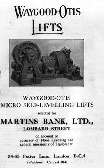 1931 Waygood-Otis Lifts Advert in TAJ for 68 Lombard Street